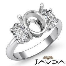Oval Diamond 3 Stone Anniversary Semi Mount Prong Set Ring 18k White Gold 1Ct
