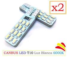x2 Bombillas LED Canbus T10 SMD Blanca 6000K COB 3014 W5W Coche Xenon Moto
