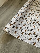 "1 METER WHITE DOG PRINT POLYCOTTON FABRIC 45"" WIDE SPECIAL OFFER"