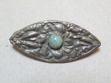 Artisan Pewter Turquoise Floral Brooch Antique Edwardian Art Nouveau Arts Crafts