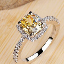 2ct Princess Cute Diamonique 925 Silver Filled Womens Yellow/White Ring Size 4-9