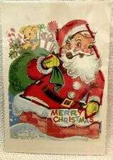 Vintage Merry Christmas Lacing Activity Card, Santa, Chimney, Toys, St Nick