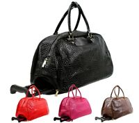 Ladies Crocodile Holdall Trolley Weekend Bag Hand Animal Print Luggage Handbag