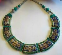 TURQUOISE, CORAL, AND LAPIS LAZULI HANDMADE 925 STERLING SILVER COLLAR NECKLACE