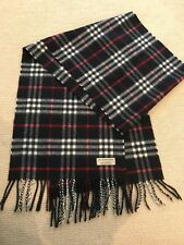 Brand New Authentic Burberry Check Navy 100% Cashmere Scarf