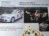 DECALS CALCA 1 43 MITSUBISHI LANCER N° 30 RALLY WRC MONTE CARLO 1998 MONTECARLO
