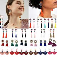 Fashion 1 Pair Women's Jewelry Elegant Crystal Tassel  Long Drop Dangle Earrings