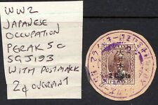 MALAYA - 1942 WW2 Japanese Occupation optd 5c Perak with 2c opt & Cancellation