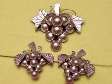 Vintage 925 Sterling Silver Mexico Grapes Cluster Brooch Pendant & Earrings Set