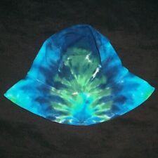 Tie Dye Child's Floppy Bucket Sun Hat Blue & Green Tye Dyed Hippie Made in Usa
