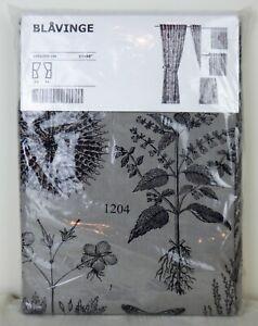 "IKEA Blavinge 57""x98"" 2 Curtain Panels Brown Botanical Insects Cotton Ramie NIP"