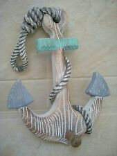 Seaside Nautical Wooden Shabby Anchor with Hook  NEW