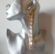 1 pair of 14cm X long gold tone chunky chain CLIP ON drop - dangly earrings, NEW