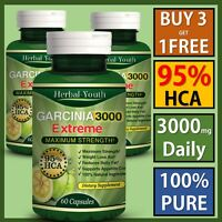 4 x BOTTLES 3000 mg Daily HCA 95% GARCINIA CAMBOGIA Capsules Weight Loss Pills