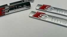 AUDI A1 A2 A3 A4 A5 S LINE grill  BADGE EMBLEM STICKER with clips silver