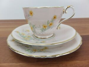Vintage AYNSLEY Bone China Trio - C935 3 Yellow Flowers on Pink with Gold Trim