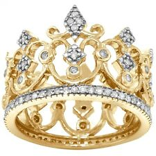 Princess Queen Crown 95 Diamond 9K 9ct 375 Solid Gold Never Ending Ring