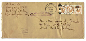 Cover from Rangoon Burma with Scott 106 stamps (n=3) 1952 Diplomatic Pouch post