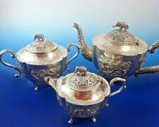 Asian Silver (3) Three Piece Tea Set with Elephant Knob on Top