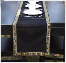 Black Gold Table Runner 180cm Linen Home Decoration Greek Key Pattern