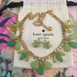 Kate Spade Gardens Of Paris Giverny Green Gold Marquis Necklace & Earrings SET