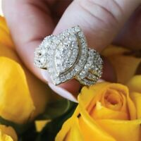 3.00 Ct Marquise Cut Diamond 10k Yellow Gold Over Womens Cluster Engagement Ring