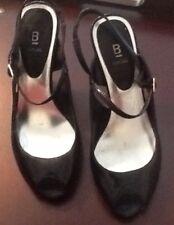 Womens Ladies BAKERS Black High Heels Shoe Stilletos Slingback Open Toe Size 6M