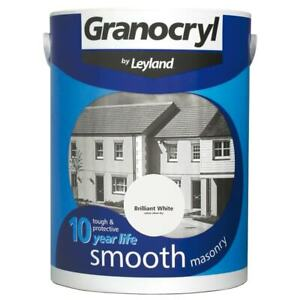 Granocryl 2.5L White Masonary Paint Smooth Outside Exterior Brick Concrete