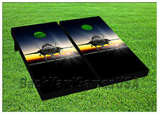 Airforce Jet CORNHOLE BEANBAG TOSS GAME w Bags Game Board Planes Jets Set 582