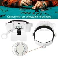 Adjustable LED Lighted Headset Magnifying Glass Helmet Jewelry Repair Head Loupe