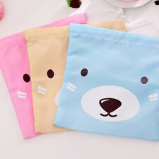 3pc Set Cute Little Bear Drawstring Makeup Bag Lunch Tote Purse Wallet Gift