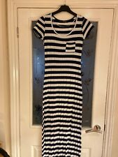 Ladies Clothes Size 8 Primark Atmosphere Navy White Stripe Maxi Jersey Dress (36
