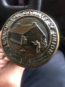Seal Of The County Of Union New Jersey Antique Bronze Door Knobs Assassination