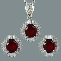 18K White Gold Gp Round Cut CZ Zirconia Red Ruby Earrings Necklace Jewelry Set