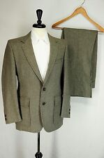 VTG Palm Beach Brown Black Tweed Patch Pocket Suit Made in USA 40L 34 x 32