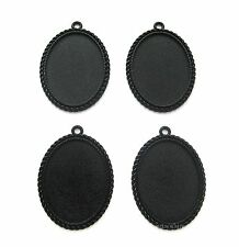 4 Goth Metallic BLACK Nautical 40mm x 30mm CAMEO Costume PENDANTS Frame Settings