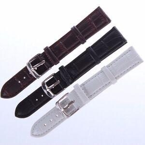 Wristwatch Band Women Men Retro Faux Leather Watch Strap Band Silver Buckle 1pc