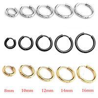 Unisex Stainless Steel Tube Hoop Ear Ring Stud Earrings  Mens Women Jewelry Punk