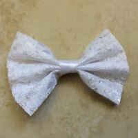 HANDMADE NEW FABRIC LACE HAIR BOW WHITE WOMEN, GIRL, COSTUME 3X5 ALLIGATOR CLIP