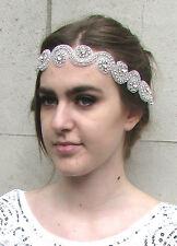 Silver Diamante Bead Bridal Headband Headpiece Vintage Ribbon White 1920s 4AH