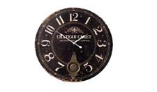 New Large Chateau Canet Black Round Wall Clock Pendulum Vintage 58cm Diameter