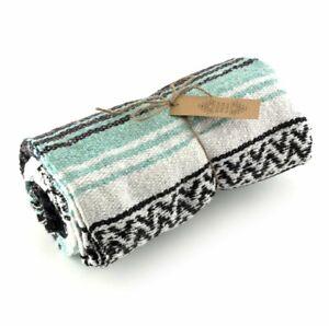 Authentic Fair Trade Mexican Falsa Blanket Throw Rug handmade stripe green large