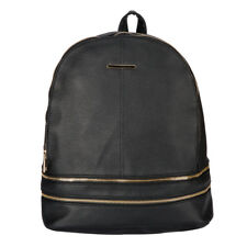 LC_ Women Simple Leather Shoulder Backpack School Rucksack Travel Zipper Bag R