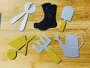 Gardening Glitter Cupcake Toppers Gardener Cake Decorations Fathers Day x6