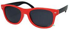 Kids Sunglasses Red Frame Black Arm Fashion Nerd Dark Lens Tint UV400 Retro New
