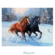 DIY 5D Diamond Embroidery Painting Cross Stitch Two Horses Animal Home Decor New