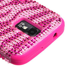Samsung Galaxy S II 2 T989 BLING IMPACT TUFF HYBRID Hard Case Cover Pink Zebra