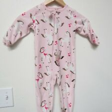 Carter's Baby Girl Infant One Piece Pajama Bodysuit PJ's Pink Horse 18 Months