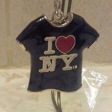 I LOVE NY RED HEART METAL T SHIRT BLACK KEY CHAIN NEW YORK