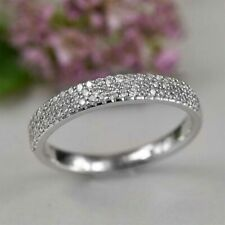 Round Shaped Diamond 14k White Gold Over Half Eternity Wedding Band Ring 1.50 Ct